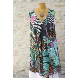 Robe tunique bariolée